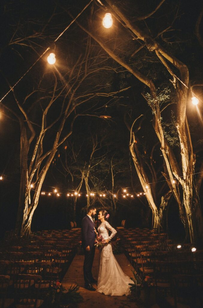 Night Wedding picture of couple