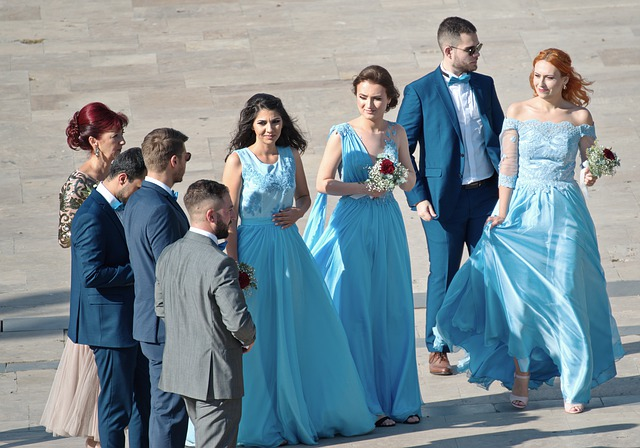 bridesmaids and groomsmen in outdoor setting