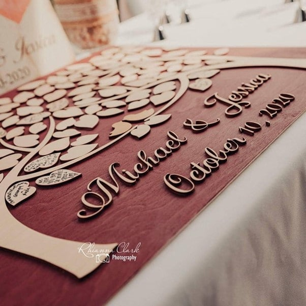 3D leaves guest book