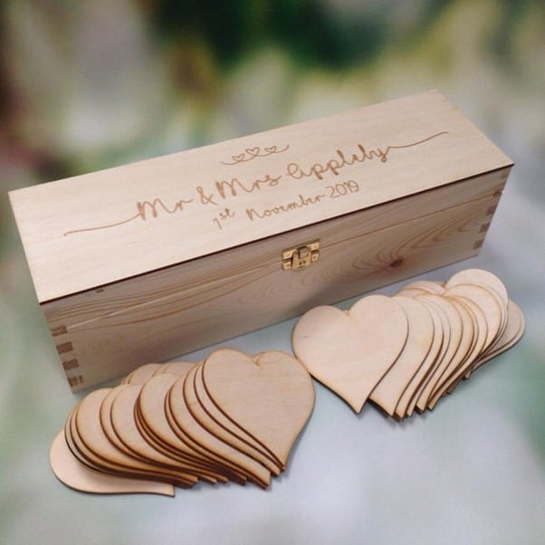 wooden box with hearts for guests